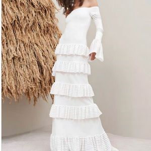 Alexis Off-the-Shoulder Tiered Knit Maxi Dress